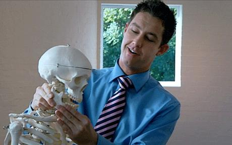 Ignite's team leader Philip tries to sell a plastic skeleton (Photo: BBC)